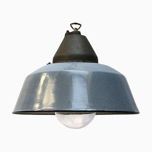Vintage Industrial Grey Blue Enamel Cast Iron Clear Glass Factory Pendant