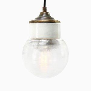 Lampe à Suspension Industrielle Vintage en Porcelaine Blanche et Laiton, Transparente et Laiton