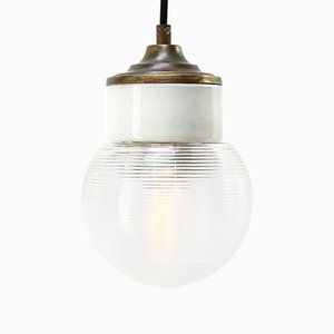 Vintage Industrial White Porcelain Ribbed Clear Glass Brass Pendant Light