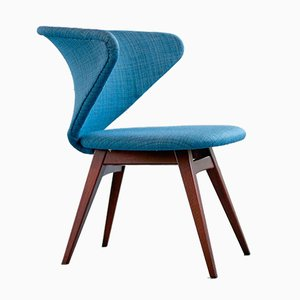 Wing-Shaped Side Chair in Petrol Blue Fabric and Beech by Sigfrid Ljungqvist, 1958