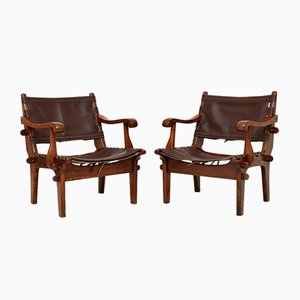 Vintage Leather & Rosewood Safari Armchairs by Angel I. Pazmino, 1960s, Set of 2