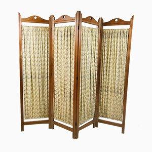 Biombo vintage con cuatro paneles de tela, años 60