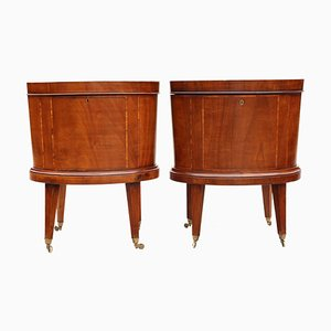 Antique Georgian Inlaid Mahogany Cabinets, Set of 2