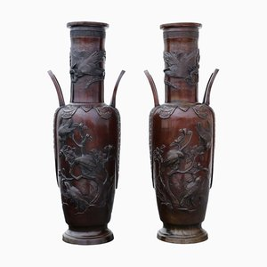 19th-Century Japanese Bronze Vases, Set of 2