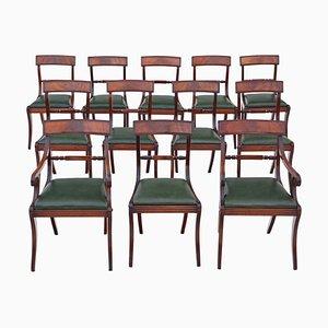 Regency Mahogany Dining Chairs, Set of 12