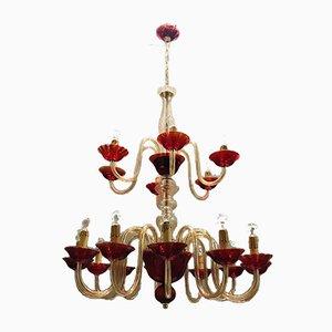 Lámpara de araña veneciana grande de cristal de Murano rojo