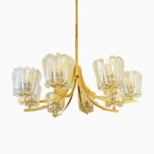 Brass Chandelier with 8 Crystal Glasses, 1950s