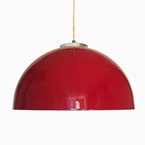 Italian Modern Ceiling Lamp with Red Plastic Lampshade and Steel Details, 1970s