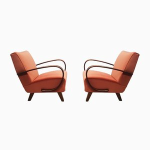 Bentwood Armchairs in Rusty Orange Velvet by Jindřich Halabala for UP Závody, 1930s, Set of 2