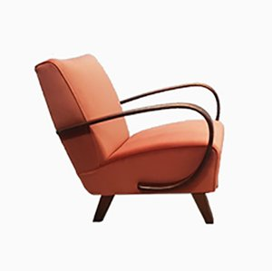 Bentwood Armchair in Rusty Orange Velvet by Jindřich Halabala for UP Závody, 1930s