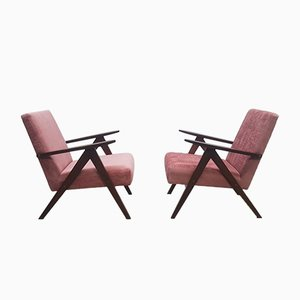 Danish Model B 310 Var Armchair in Rusty Pink Velvet, 1960s, Set of 2