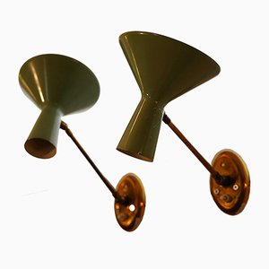 Mid-Century Italian Brass and Green Lacquer Articulated Sconces, 1950s, Set of 2