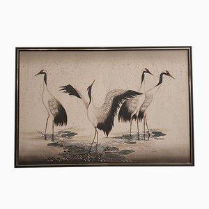 Vintage Dekoratives Gemälde von Vögeln
