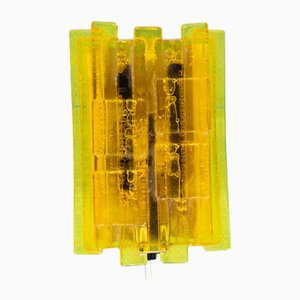 Space Age Sconce with Acrylic Yellow Shade by Claus Bolby for Lyskær Belysning, 1970s