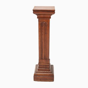 Oak Gothic Revival Carved Pedestal, 1900s