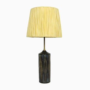 Mid-Century Danish Ceramic Table Lamp with Raffia Lampshade, 1960s