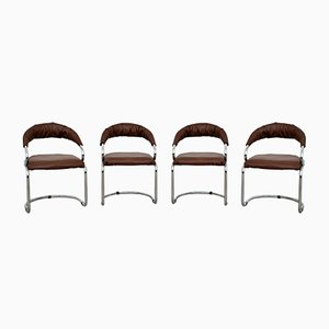 Chrome Dining Chairs by Giotto Stoppino for ignoto, 1970s, Set of 4
