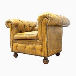 Antiker viktorianischer Chesterfield Leder & Rosshaargefüllter Sessel