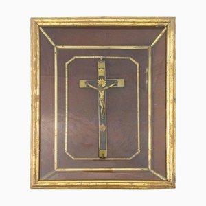 Französisches Kruzifix aus dem späten 19. Jahrhundert mit Rahmen
