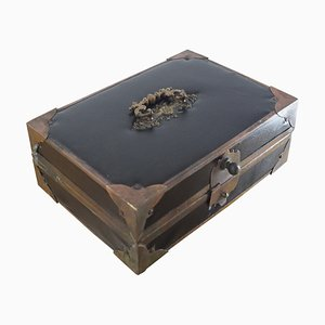 Antique Leather Cigar or Jewelry Box, 1900s