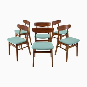 Oak Dining Chairs, Denmark, 1960s, Set of 6