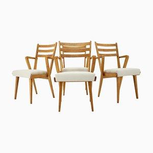 Oak Dining Chairs, Czechoslovakia, 1960s, Set of 4
