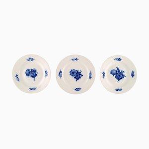 Blue Flower Braided Cake Plates Number 10/8092 from Royal Copenhagen, Set of 3