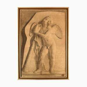 Antique Pencil Drawing on Paper Angel by Jens Adolf Jerichau, 1852