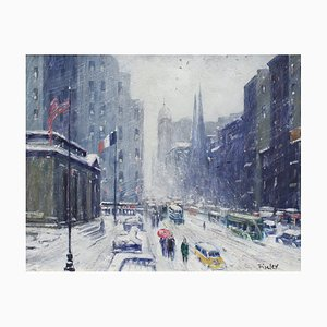 New York Public Library Under Snow 1940s by Finley after Guy Carleton Wiggins, 1960s