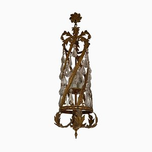 Antique Golden Chandelier with Crystals