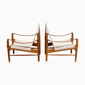 Swedish Safari Lounge Chairs by Hans Olsen for Viska Möbler, Kinna, 1960s, Set of 2