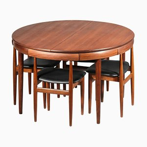 Danish Teak Dining Table & Chairs Set by Hans Olsen, 1960s, Set of 5