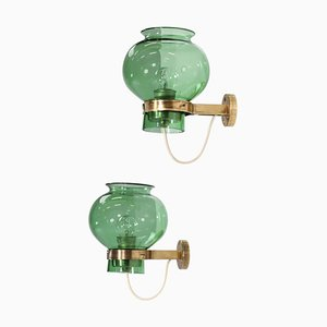 Italian Wall Lights in Green Glass and Brass, 1950s, Set of 2