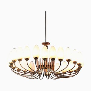 Large Italian 24-Light Chandelier in the Style of Gio Ponti & Lelli Angelo, 1950s
