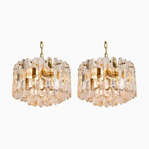 Gilt Brass and Glass Palazzo Chandelier Pendants by J.T. Kalmar, 1970s, Set of 2