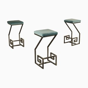 Italian Metal, Foam & Velvet Stools, 1990s, Set of 3
