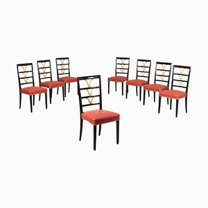 Italian Beech, Spring & Leatherette Dining Chairs, 1950s, Set of 8