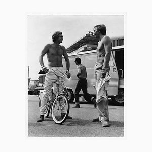 Steve McQueen and Member of the Le Mans Crew Chatter by Henry Gris, 1971