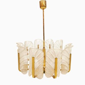 Large Mid-Century Murano Glass Leaves Chandelier by Carl Fagerlund for Orrefors Sweden, 1960s