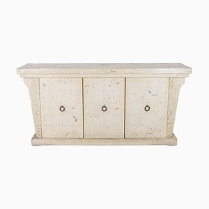 Sideboard in White Travertine Plated Stone, 1970s