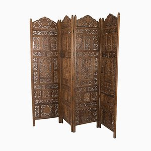Indo-Portuguese Style Screen in Teak, 1950s