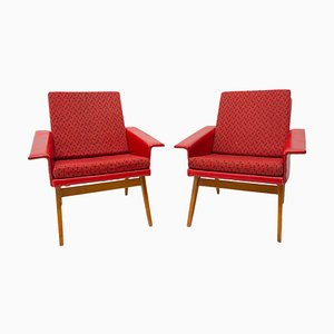 Mid-Century Armchairs in Leatherette, Czechoslovakia, 1960s, Set of 2