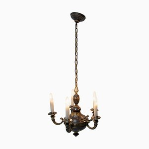 Antique Historicizing Brass 5-Arm Chandelier