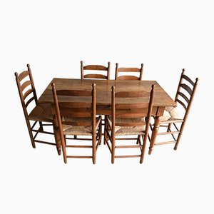 Antique Oak Dining Table & Button Chairs, Set of 9