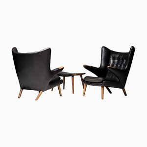 Black Leather Papa Bear Chairs with Ottoman by Hans Wegner for AP Stolen, 1950s, Set of 3