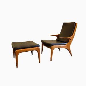 Teak Lounge Chair with Footstool by Kurt Ostervig, Set of 2