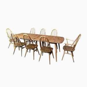 Large Extendable 5-Legged Dining Table & Chairs from Ecrol, Set of 9