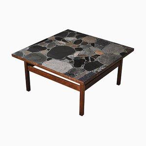 Scandinavian Modern Rosewood & Terrazzo Coffee Table by Erling Viksjø for Bruksbo, 1960s