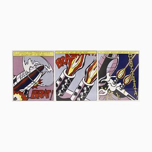 Litografia As Ipted Fire triptych e litografia di Roy Lichtenstein, 1998