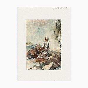 Woman Watercolor on Paper by Pierre Laurent Brenot